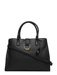 d2531ccc17de0 Large Pebbled Leather Satchel - BLACK. Lauren Ralph Lauren