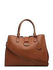 Large Pebbled Leather Satchel - LAUREN TAN