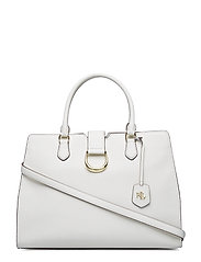 Large Pebbled Leather Satchel - VANILLA