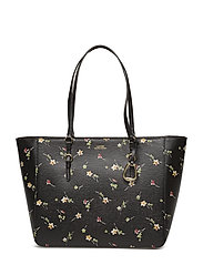 Floral Leather Tote - BLACK VINTAGE FLO