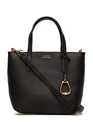VEGAN LEATHER-MINI TZ TOTE-CXB-MED - BLACK/TAUPE