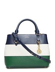 4480d4c2bc Leather Color-Blocked Satchel - NAVY VANILLA GREE. 25%. Lauren Ralph Lauren.  Leather color-blocked satchel ...