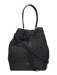 Straw Debby Drawstring Bag - BLACK