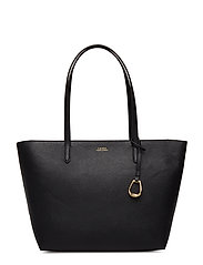 VEGAN LEATHER-TOP ZIP TOTE-TTE-MED - BLACK/TAUPE