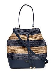 Straw Debby Drawstring Bag - NAVY/NATURAL HORI