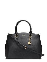 Saffiano Leather Large Satchel - BLACK