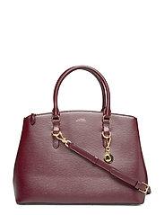 Saffiano Leather Large Satchel - BORDEAUX