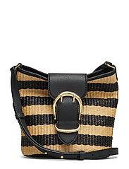 Woven Bucket Bag - BLACK/NATURAL