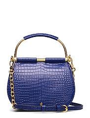 Mini Round Leather Satchel - DEEP BLUE