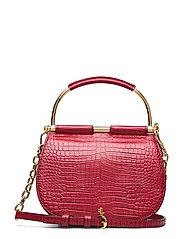Mini Round Leather Satchel - RED