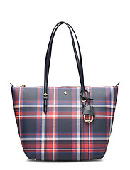 Faux-Leather Small Tote - NAVY BARNES PLAID