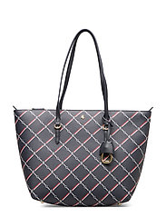 Faux-Leather Small Tote - NAVY EQUESTRIAN G