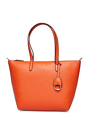 Faux-Leather Small Tote - PUMPKIN