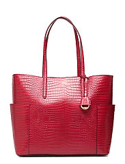 Large Leather Tote - RED