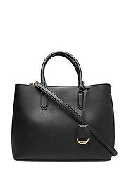 Large Leather Marcy Satchel - BLACK/PORCINI