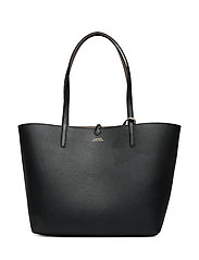 Faux-Leather Reversible Tote - BLACK/TAUPE