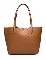 Faux-Leather Reversible Tote - LAUREN TAN/ORANGE