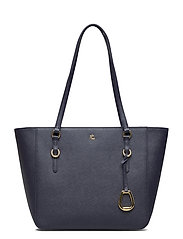 Leather Medium Shopper - LAUREN NAVY