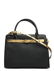 Leather Medium Fenwick Satchel - BLACK/ANTIQUE GOL