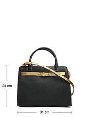 Lauren Ralph Lauren - Leather Medium Fenwick Satchel - handväskor - black/antique gol - 5