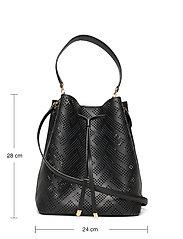 Lauren Ralph Lauren - Perforated Leather Debby Drawstring Bag - bucket bags - black - 5