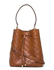 Perforated Leather Debby Drawstring Bag - LAUREN TAN