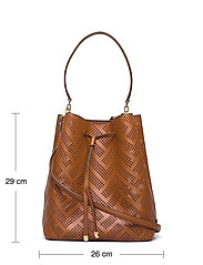 Lauren Ralph Lauren - Perforated Leather Debby Drawstring Bag - bucket bags - lauren tan - 5
