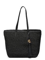 Crochet-Straw Medium Whitney Tote - BLACK/BLACK