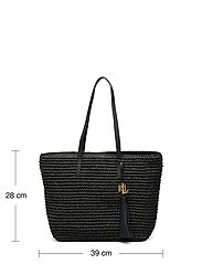 Lauren Ralph Lauren - Crochet-Straw Medium Whitney Tote - shoppere - black/black - 4