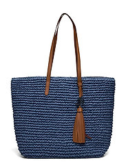 Crochet-Straw Medium Whitney Tote - MEDIUM BLUE/LAURE