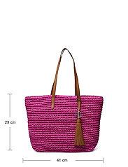 Lauren Ralph Lauren - Crochet-Straw Medium Whitney Tote - shoppere - nouveau bright pi - 5