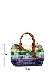 Lauren Ralph Lauren - Crochet-Straw Mini Marcy II Satchel - skuldertasker - cool stripe/laure - 5