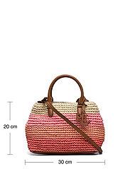 Lauren Ralph Lauren - Crochet-Straw Mini Marcy II Satchel - skuldertasker - warm stripe/laure - 5