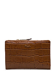 Soft Faux Crocodile Wallet  - BOURBON