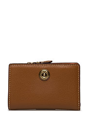 Compact Pebbled Leather Wallet - LAUREN TAN/ORANGE