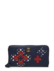 FLORAL GEO PATCHWRK-ZIP WALLET-WLT- - NAVY MIXED GEO