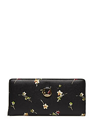 Saffiano Leather Wallet - BLACK VINTAGE FLO