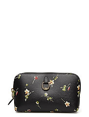 PRINTED SAFFIANO-DUO COSMETIC-COS-M - BLACK VINTAGE FLO