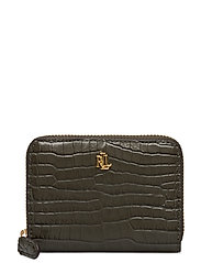 Leather Small Zip Wallet - DEEP OLIVE