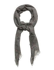 WOOL-PLAID WRAP - BLACK/IVORY GLENP