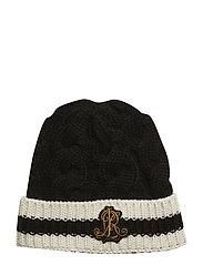 ACRYLIC-CRICKET HAT - BLACK/IVORY
