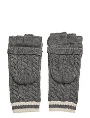 ACRYLIC-CABLE POP TOP GLOVE - MED GREY HTR/ IVO