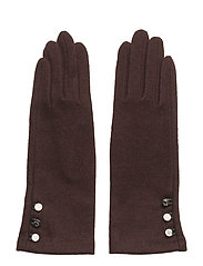 LEATHER-3 BUTTON TOUCH GLOVE - WINE