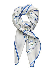 Natalie Silk Scarf - WHITE/BLUE
