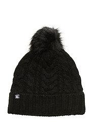 ACRYLIC BLEND-POM POM CABLE HAT - BLACK