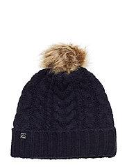 ACRYLIC BLEND-POM POM CABLE HAT - NAVY