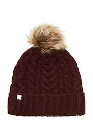 ACRYLIC BLEND-POM POM CABLE HAT - PORT