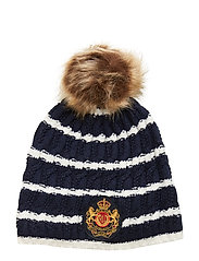 ACRYLIC BLEND-CABLE PATCH HAT - NAVY/CREAM