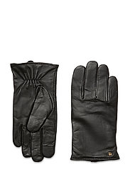 Leather-Cashmere Gloves - BLACK