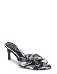 Genevie Gingham Mule Sandal - BLACK/WHITE